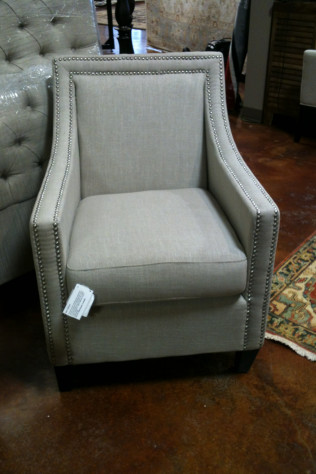 Light Gray/Taupe Linen Chair