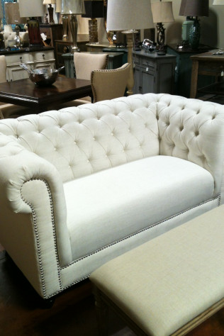 White Linen Loveseat