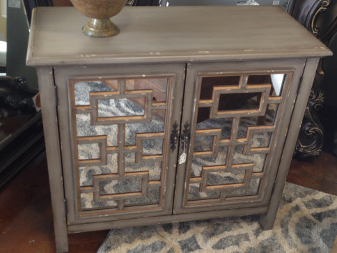 Distressed Mirrored Side Table