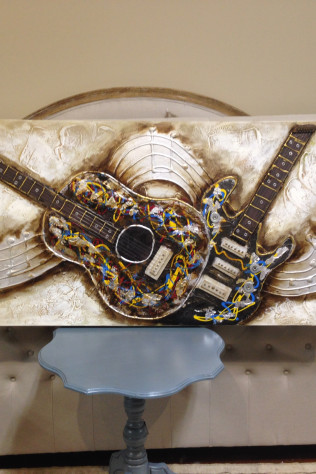 Guitar and Music Note Art